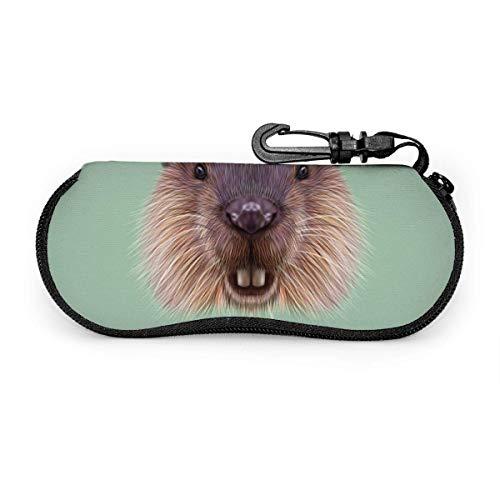 Arvolas Estuche para gafas de sol Estuche para gafas con cremallera de cara de castor lindo de neopreno con clip para cinturón