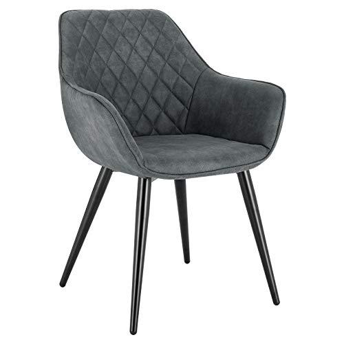 WOLTU Esszimmerstühle BH231gr-1 1x Küchenstuhl Wohnzimmerstuhl Polsterstuhl mit Armlehen Design Stuhl Stoffbezug Metall Grau