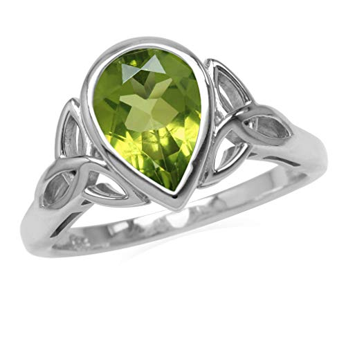 Silvershake Genuine 2ct. 10X7mm Peridot 925 Sterling Silver Triquetra Celtic Knot Ring Size 7