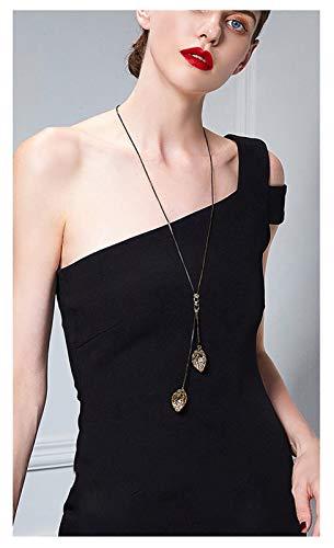 RXISHOP Lange Halskette für Damen, schwarze Pferdepeitsche Kette, goldenes hohles Blatt Anhänger Pullover Kette Mutter Freundin Geschenk Halskette
