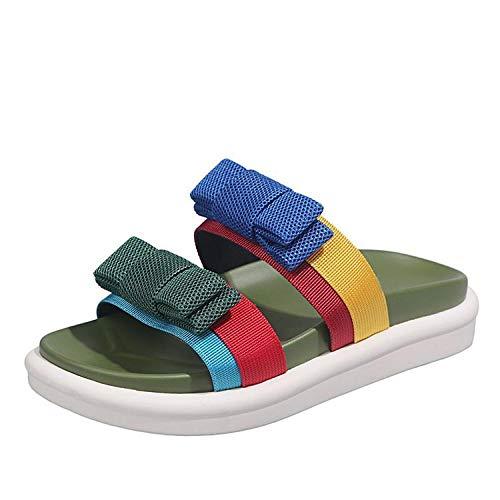 bjyxszd Zapatos de Playa y Piscina Unisex Adulto,Sandalias Deportivas y al Aire Libre Sandalias de Verano Zapatillas de Arco de Punta Plana Flip Flops Playa Slides Casual Shoes-Verde_37