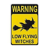 ハロウィーン警告ローフライング魔女マーク、キッチンデコレーション魔女部屋デコレーション魔女デコレーションハロウィーンデコレーションファミリーウォールデコレーション8x12インチ