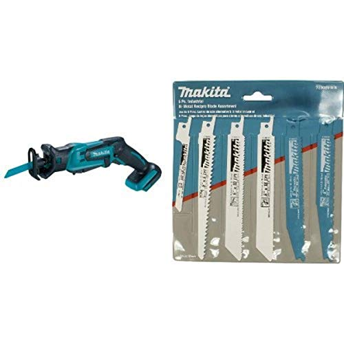 Makita XRJ01Z 18-Volt LXT Lithium-Ion Cordless Compact Reciprocating Saw (Tool Only, No Battery) with 6-Piece Recipro Blade Assortment Pack