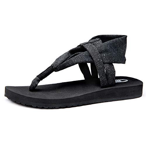 Josaywin Chanclas de Mujer Zapatos Planos Casual Flip Flop Verano Sandalias de Moda Sandalias Esterilla de Yoga CóModa Chancletas Antideslizante para Viajar Caminar Negro 39