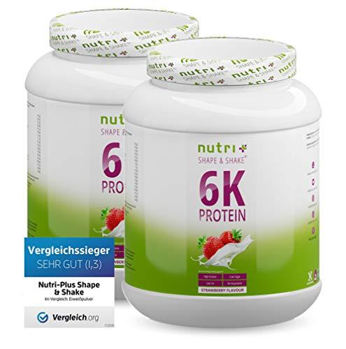 EIWEIßSHAKE ERDBEERE 2kg - 6k-Protein-Pulver mit Soja - Erbse - Mandel - Sonnenblume - Reis - Weizen - Zuckerfrei und kalorienarm - Nutri-Plus Eiweißpulver Erdbeer 2000g