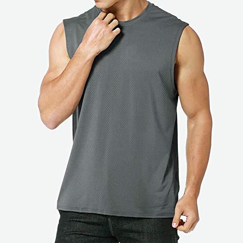 MEETYOO Camisetas Ttirantes Hombre, Camisetas sin Mangas Running Tank Top Gym para Fitness Deportes (Gris, XL)