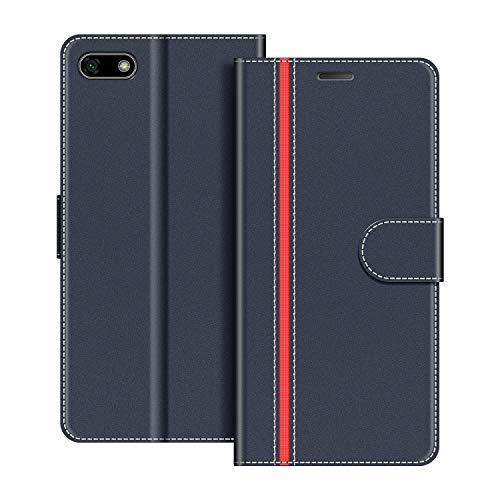 COODIO Handyhülle für Huawei Y5 2018 Handy Hülle, Huawei Y5 2018 Hülle Leder Handytasche für Honor 7S / Huawei Y5 2018 Klapphülle Tasche, Dunkel Blau/Rot