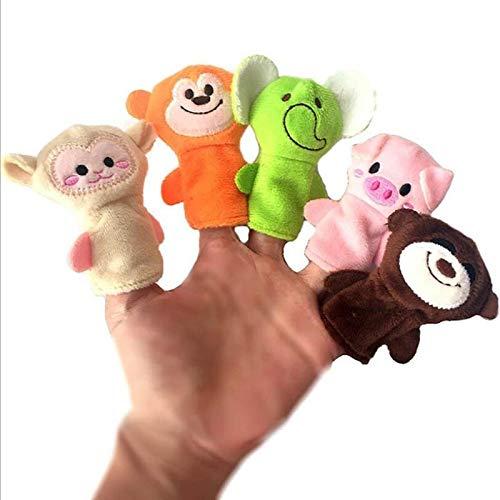 weichuang Títeres de dedo de la marioneta de dedo mini animal de la mano de dibujos animados de animales muñeca dedo teatro juguete regalo para niños marionetas de dedo (color: 3 piezas al azar)