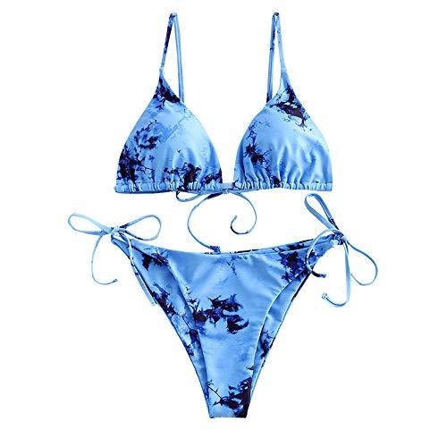 ZAFUL Women's Tie Dye Cinched String Triangle Bikini Set Three Piece Swimsuit (2 Piece-Blue, M)