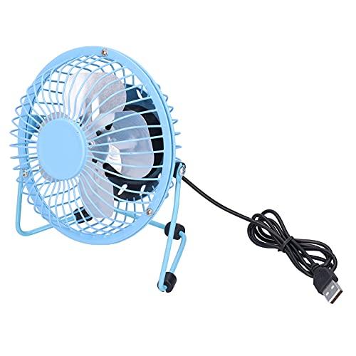 Mini Ventilador de Mesa USB Portátil,ventilador de enfriamiento silencioso con interruptor de encendido / apagado de rotación de 360 ° para oficina, hogar, dormitorio, biblioteca, viajes(azul)
