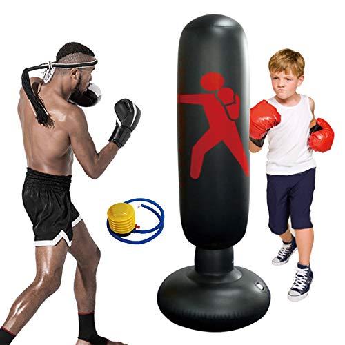 KIKILIVE Standboxsäcke Boxsack Kinder 160cm, Aufblasbare Boxsäule Tumbler Kinder Üben von Karate, Taekwondo, Fitness Dekompression Sandsäcke Kick Kampftraining mit Luftpumpe Enthalten
