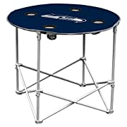 The portable Round Table is just what an ultimate fan needs for their next tailgate party. With a sturdy surface and four cup holders, it is ideal for gameday snacking and gathering around with friends. Designed for comfort, this table's height match...