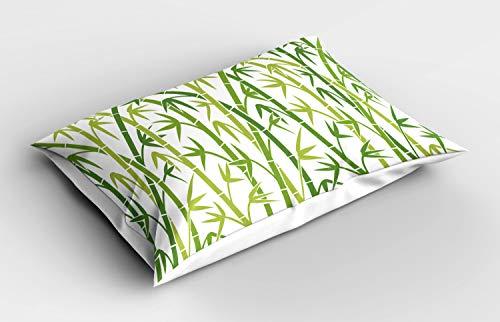 ABAKUHAUS Asian Blätter Kissenbezug, Cartoon-Stil Bambus, Dekorativer Standard King Size Gedruckter Kissenbezug, 75 x 50 cm, Grün und Hellgrün