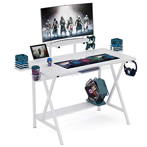 Computer Desk Gaming Desk Writing Workstion Study Desk PC Notebook Laptop Computer Desk Table with Monitor Stand and Shelf Controller Stand Cup Holder Headphone Hook for Home Office by Tribesigns