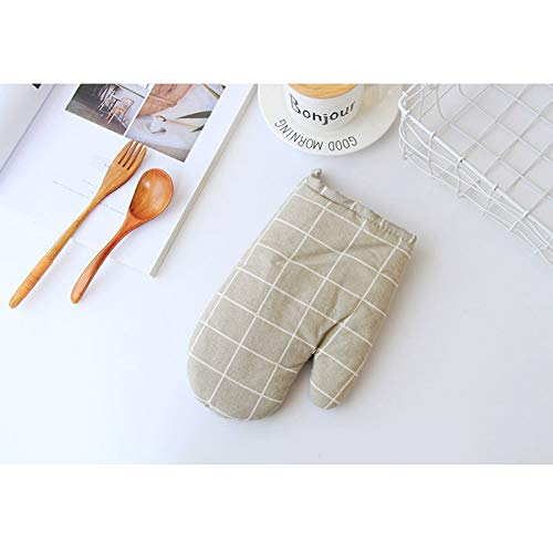 1 pièce mignon antidérapante jaune coton gris Mode Nordic Cuisine de cuisine Gants de cuisson micro-ondes barbecue Maniques MITAINES (Color : Gray plaid glove)