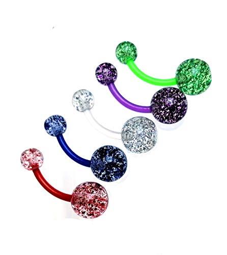 Piercing para el ombligo (juego de 5 unidades), acrílico/Bioflex 1,6 x 11 mm con bolas de purpurina