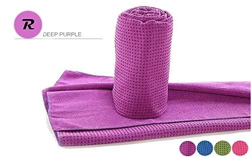 Robson Handtuch für Yogamatte inkl Tasche, rutschfest durch Silikonpunkte, 183cm x 63cm, Geeignet für Yoga, Freeletics, Antibakteriell,Schweiß absorbierend, Premium Mikrofaser Qualität, (Purple)