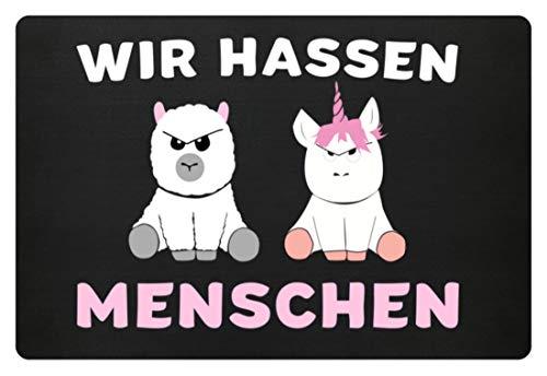 EBENBLATT Fussmatte Wir hassen menschen Lama Alpaka Einhorn Unicorn Einhörner Fussabtreter Geschenk - Fußmatte -60x40cm-Schwarz