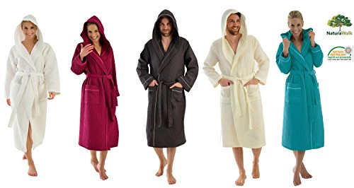 Damen und Herren Bademantel mit Kapuze, Pikee in 4 Farben Größe S, Farbe Türkis