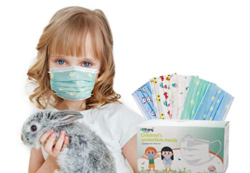 Kids Disposable Masks – 50Pcs Kids Disposable Face Masks – 3-Ply Mask for Kids – 5 Cute Designs – Non-Woven Fabric and Comfortable Ear Loops – Optimal Breathability