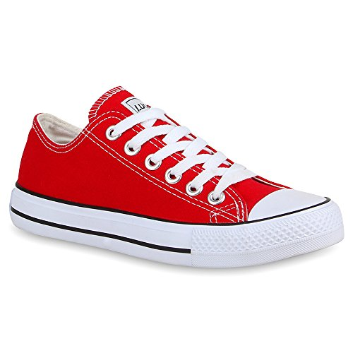 stiefelparadies Damen Schuhe Sneakers Sportschuhe Schnürer Schuhe 24759 Rot Ambler 42 Flandell