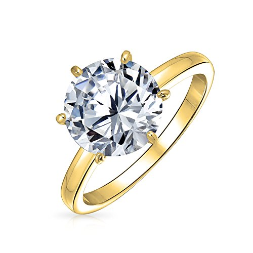 Simple 3CT 6 Prong Brilliant Cut AAA CZ Solitaire Engagement Ring For Women 14K Gold Plated 925 Sterling Silver