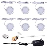 Aiboo Wireless LED Under Cabinet Lighting Dimmable with RF Remote Control, 6 LED Puck Lights, Total of 12W, for Kitchen Count Closet Wardrobe Lighting(Cold White)