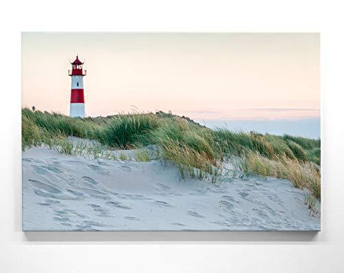 BilderKing Atemberaubendes Nordsee Panorama Leinwand-Bild 120x60cm, Motiv Leuchtturm Sylt. EIN einzigartiges XXL Wandbild als Deko für Wohnzimmer, Schlafzimmer, Küche. Aufgespannt auf Holzrahmen