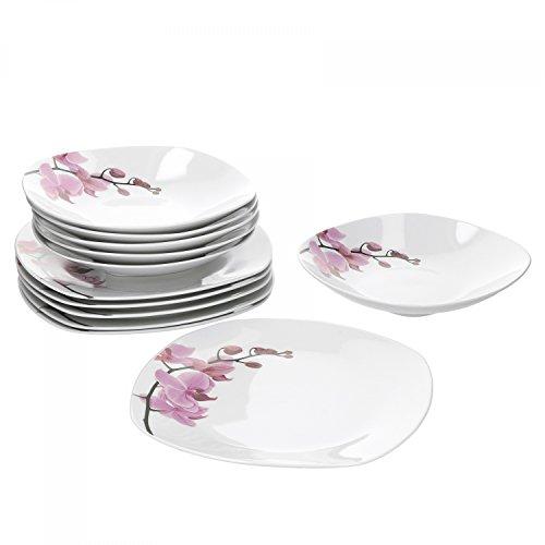 Van Well Tafelservice Kyoto, 12tlg. für 6 Personen, 6 Speiseteller + 6 Tiefe Suppenteller, Porzellan-Geschirr, Blumen-Dekor Orchidee, rosa-rot, pink