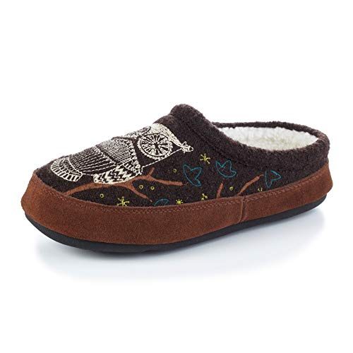 Acorn Women's Clog Slipper, Multi-Layer Memory Foam footbed With A Soft Berber Lining And Suede Sidewall, Chocolate, 8-9