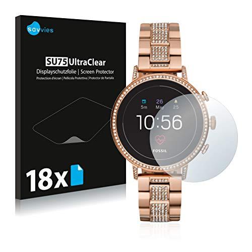 Savvies 18x Schutzfolie kompatibel mit Fossil Q Venture HR (4.Gen) Bildschirmschutz-Folie Ultra-transparent