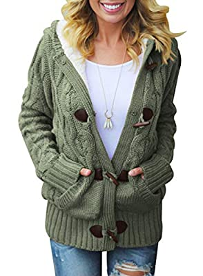 SIDEFEEL Women Button Up Cardigan Hooded Sweater Coat Outwear with Pockets Medium Amy Green