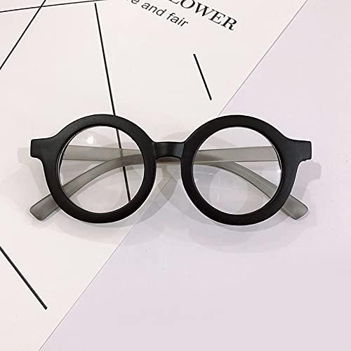YULE Gafas redondas para niños, lentes transparentes UV400, protección para los ojos, para niños, para exteriores, color negro