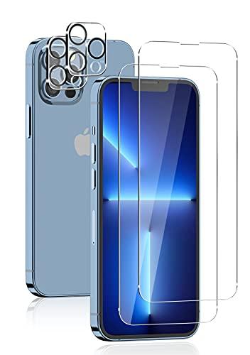 Sungale iPhone13 Pro Max 用 ガラスフィルム (4枚セット) 強化ガラスフィルム2枚 + カメラフィルム2枚 日本旭硝子製 iphone 13 pro max 用 アイフォン13プロマックス 用 保護フィルム カメラ保護 耐衝撃 飛散防止 ラウンドエッジ加工 iPhone13promax 対応 フィルム (6.7インチ)