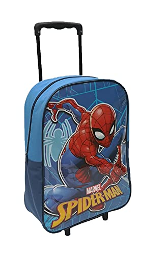 Kids Trolley Cabin Bag Suitcase with Wheels and Telescopic Handle - Ideal for Short Breaks, Holidays, sleepovers and School Trips (Spiderman)