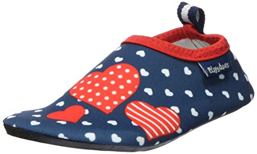 Playshoes Jungen Mädchen Badeslipper Aqua-Schuhe Herzchen, Blau (Marine 11), 20/21 EU