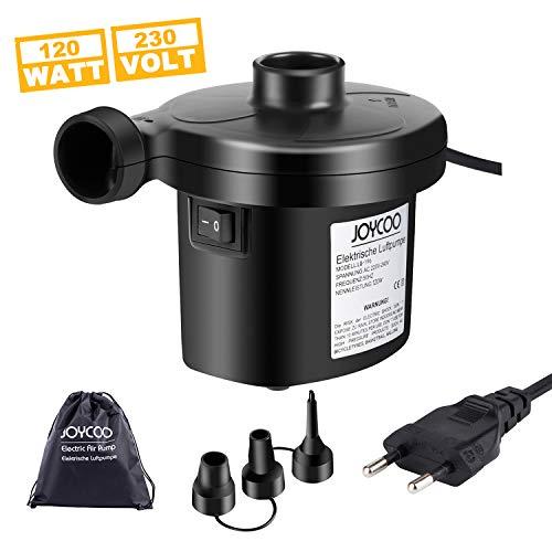 Joycoo Elektrische Luftpumpe Pumpe Luftmatratze Elektrische Pumpe luftpumpe luftmatratze mit 3 Luftdüse für aufblasbare Matratze,Kissen,Bett,Boot,Schwimmring 120W AC230V