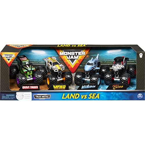 Monster Jam , Coffret de 4 véhicules Land vs. Sea, Modèles assortis (Grave Digger, Max-D, Megalodon et Pirate's Curse) en métal moulé à l'échelle 1 64
