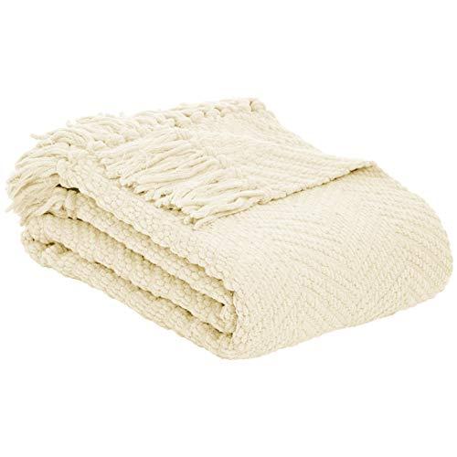 Amazon Basics - Decke mit Fransen, Strick, Elfenbeinweiß, 130x150cm