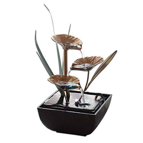 EMOHKCAB Fuentes de Agua Decorativas de Interior Fuente de Loto Artesanías de Resina Regalos Feng Shui Rueda Fuente de Agua de Escritorio para Oficina en casa