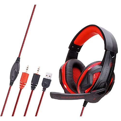 Jiudong Auriculares Gaming con Micrófono para PS4 Y Xbox Ordenador Portátil Ordenador Teléfono Móvil Aislaciones de Ruido con Cable Auriculares Gaming con Luz LED Auriculares de Oído