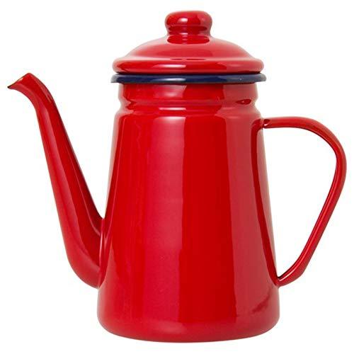 Moligh doll 1.1L Caffettiera Smaltata di Alta qualità Versare sul Latte Brocca d'Acqua Brocca Barista Teiera Bollitore per Fornello Un Gas e Piano Cottura Un Induzione Rosso
