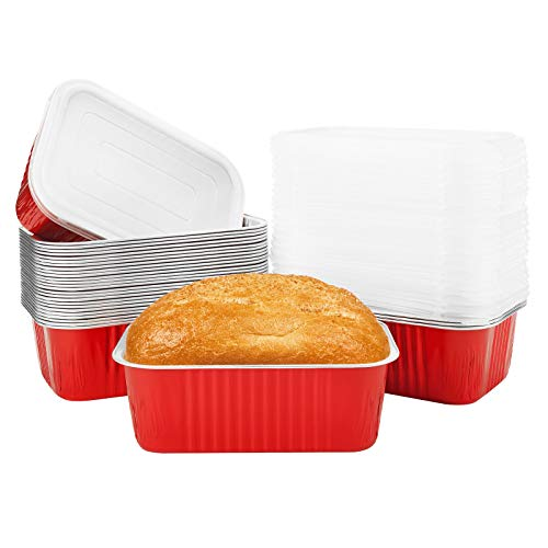 Mini Loaf Pans for Baking Bread, Beasea 30 Pack 6x4 Inch Aluminum Foil Loaf Pan with Lids, Disposable Mini Bread Pans Red Bread Loaf Pans Loaf Baking Pans Loaf Bakeware for Baking