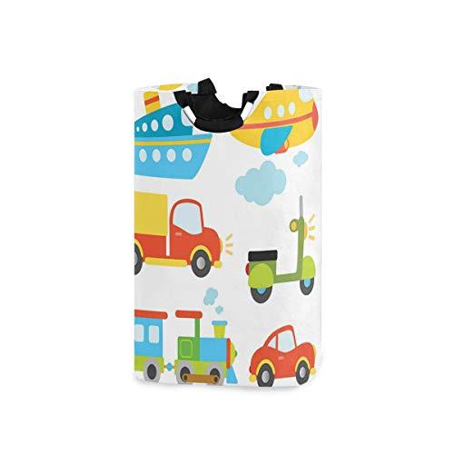 SIONOLY Wäschesack Abstrakte Transportarten für Kleinkinder Auto Schiff LKW Roller Zug Flugzeug Großer Faltbarer Wäschekorb,zusammenklappbarer Wäschekorb,zusammenklappbarer Waschvorratsbehälter
