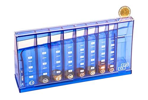 Euro Münzsortierer Spardose blau 24 cm - abschließbar mit Schlüssel - Münzzähler Geldsortierer Münzsammler Geld-Zähler für Kleingeld und Scheine
