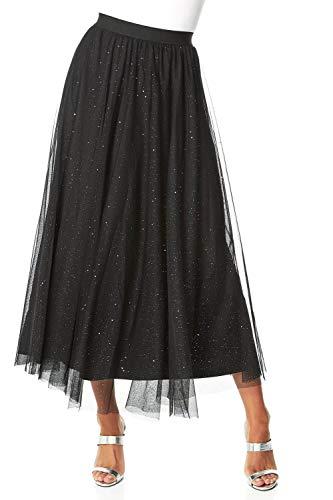 Roman Originals - Falda larga brillante de malla para mujer, falda tutú brillante de malla, talla elástica, para fiestas y ocasiones especiales Negro 40