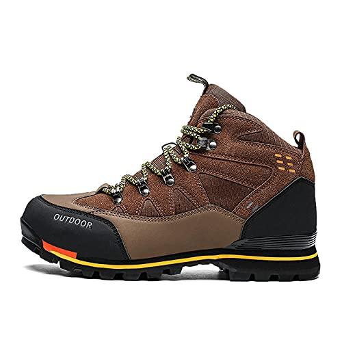 Fnho Calzado Deportivo al Aire Libre,Transpirables para Zapatos,Zapatos de Senderismo de caña Alta, Zapatos de Senderismo al Aire Libre para Hombres-marrón_44