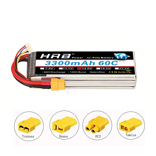 HRB 14.8V 4S 60C 3300mAh Bateria Lipo Softcase con XT60 Plug para Radiocontrolado RC Truggy RC Buggy RC helicóptero RC Avión RC Barco RC (EC3 / Deans / Traxxas / Tamiya)