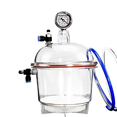 MaxLab Secador de plástico al vacío de policarbonato de 150MM 250MM, Laboratorio desecador, secador de Secado al vacío, Doble válvula con medidor de presión,250mm