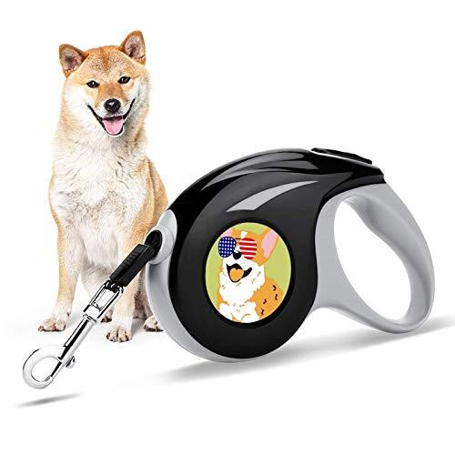 Corgi - Gafas de sol con diseño de bandera americana, 1 correa retráctil para perros y gatos pequeños, sin enredos, correas duraderas con asa antideslizante para pausa y bloqueo